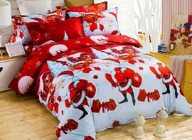 Vivilinen Lovely Santa Claus Print 4-Piece Polyester Duvet Cover Sets