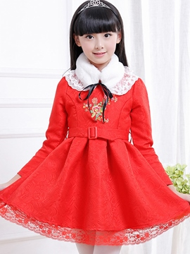 Ericdress Embroidery with Belt Girls Dress