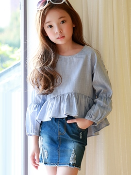 Ericdress Raglan Lantern Sleeve Falbala Pleated Girls Top
