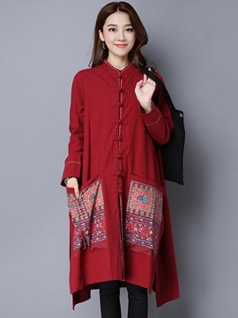 Ericdress Loose Printed Ethnic Trench Coat