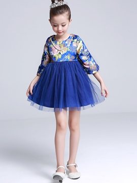 Ericdress Necklace Floral Printed Mesh Pleated Girls Dress