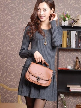 Ericdress Slim Knit Long Sleeve Sweater Dress