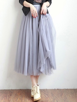 Ericdress Solid Color Simple Gauze Skirt