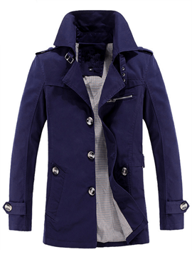 Ericdress mince Trench-Coat Plain simple boutonnage hommes
