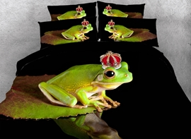 Frog with Crown Printed Cotton 3D 4-Piece Bedding Sets/Duvet Covers