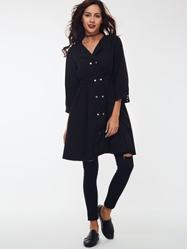 Ericdress Solid Color Slim Wave Cut trench Coat