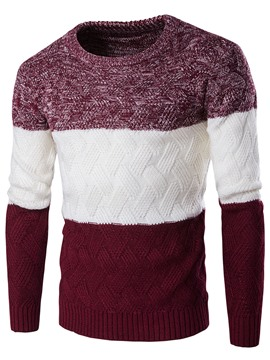 Chandail Ericdress Color Block Crew Neck Jacquard Vogue hommes