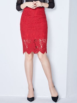 Ericdress Ladylike Lace Column Skirt