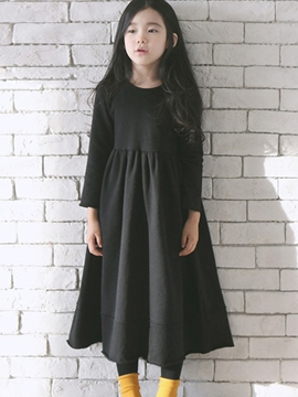Ericdress Plain Mid-Calf Vintage Girls Dress