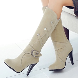 Ericdress Chic Button Decoration Knee High Boots