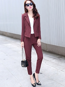 Ericdress Unique Stripe Blazer Suit