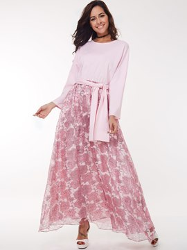 Ericdress Sweet Mesh Floral Print Patchwork Belt Maxi Dress