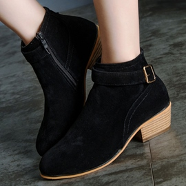 Ericdress Chic Zipper Square Heel Ankle Boots