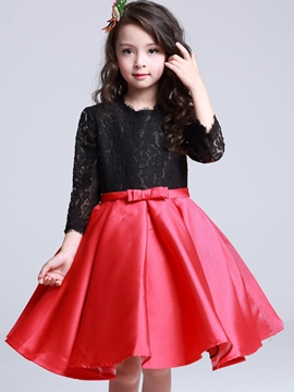 Ericdress Lace Hollow Bow-Belt Pleated Girls Dress