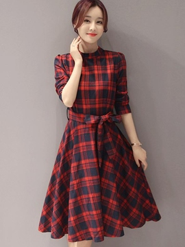 Ericdress Plaid Lace-Up Stand Collar A Line Dress
