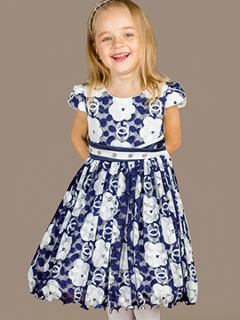 Ericdress Floral Hollow Diamond Belt Girls Dress