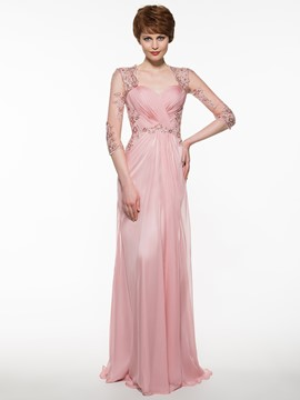 Elegant A Line Long Mother Of The Bride Dress