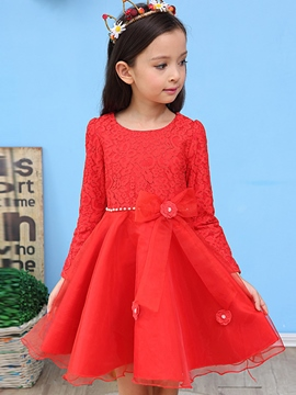 Ericdress Lace Hollow Mesh Bead Girls Dress