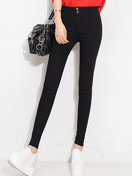 Ericdress Solid Color Simple High-Waist Leggings Pants
