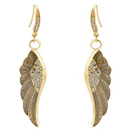 Ericdress Diamante Wing Pendant Earrings