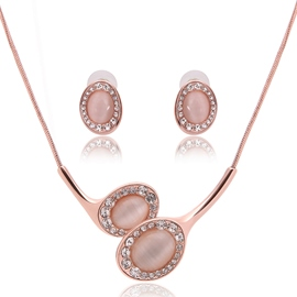 Ericdress Pink Crystal Inlaid Jewelry Set