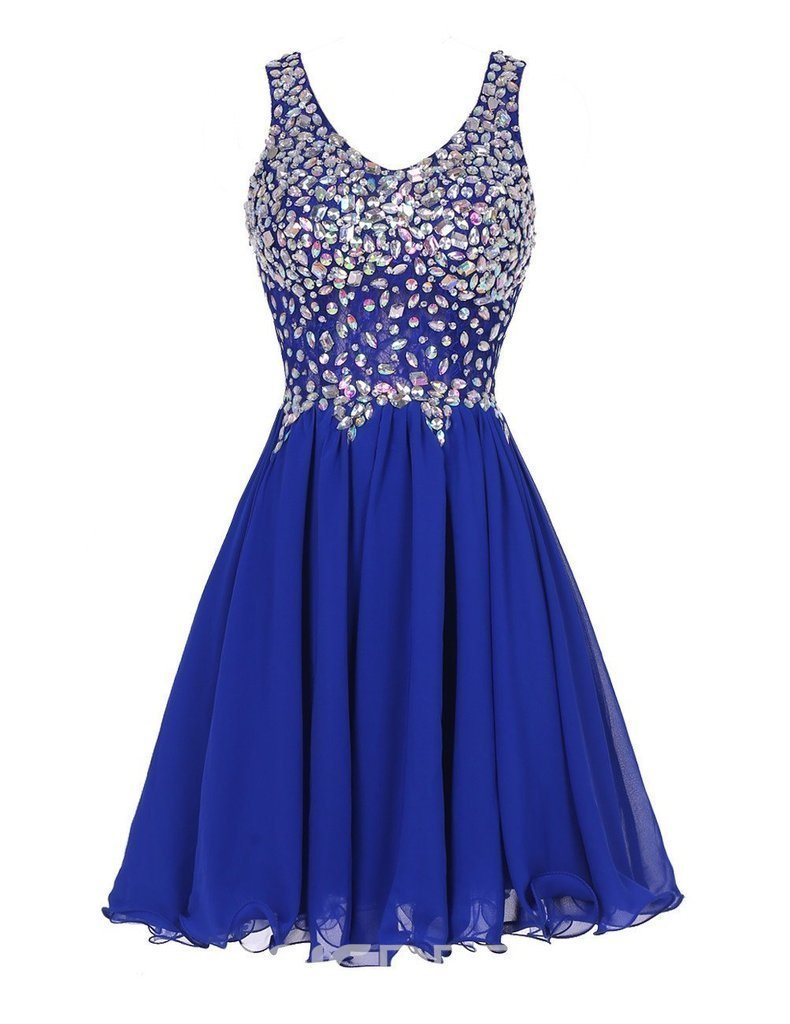 Ericdress A-Line Round Neck Beaded Short Homecoming Dress