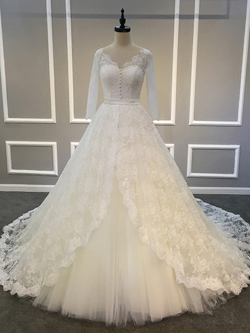 Ericdress Lace Button Long Sleeve Vintage Wedding Dress