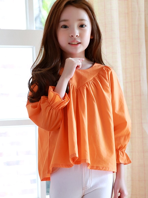 Ericdress Patchwork Pleated Back Button Girls Top