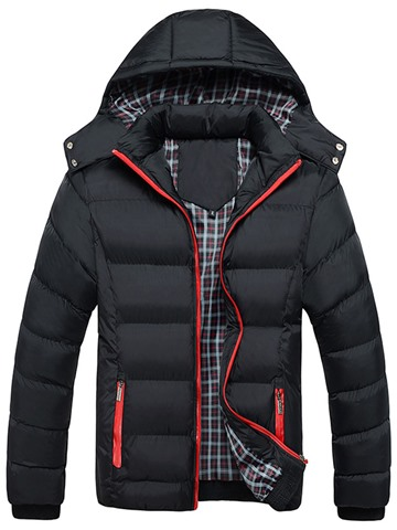 Ericdress Hooded Solid Color Thicken Warm Casual Men's Down Coat
