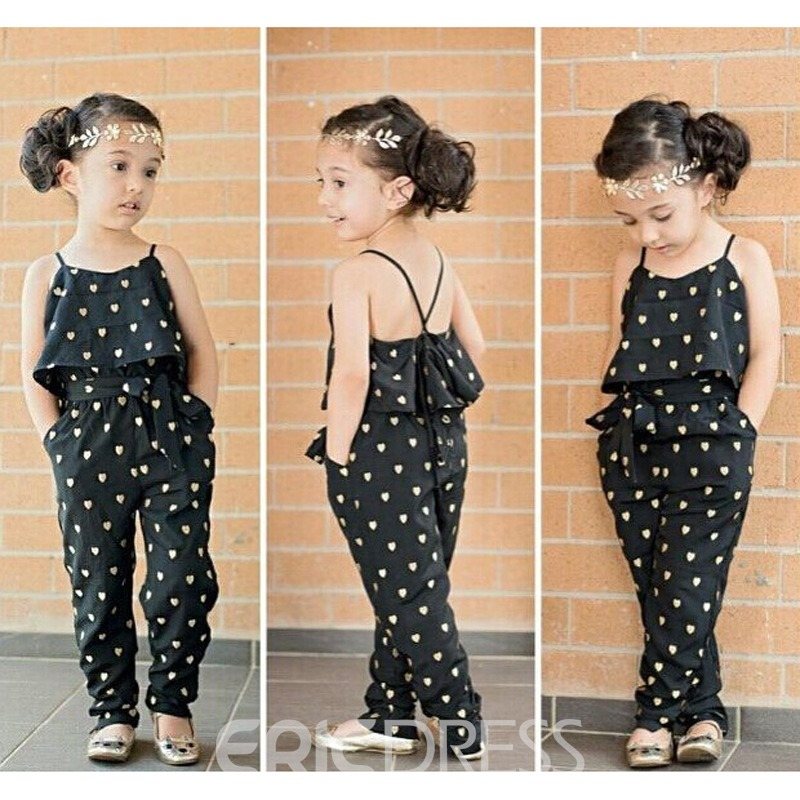 Ericdress Spaghetti Strap Polka Dots Lace-Up Girls Jumpsuit