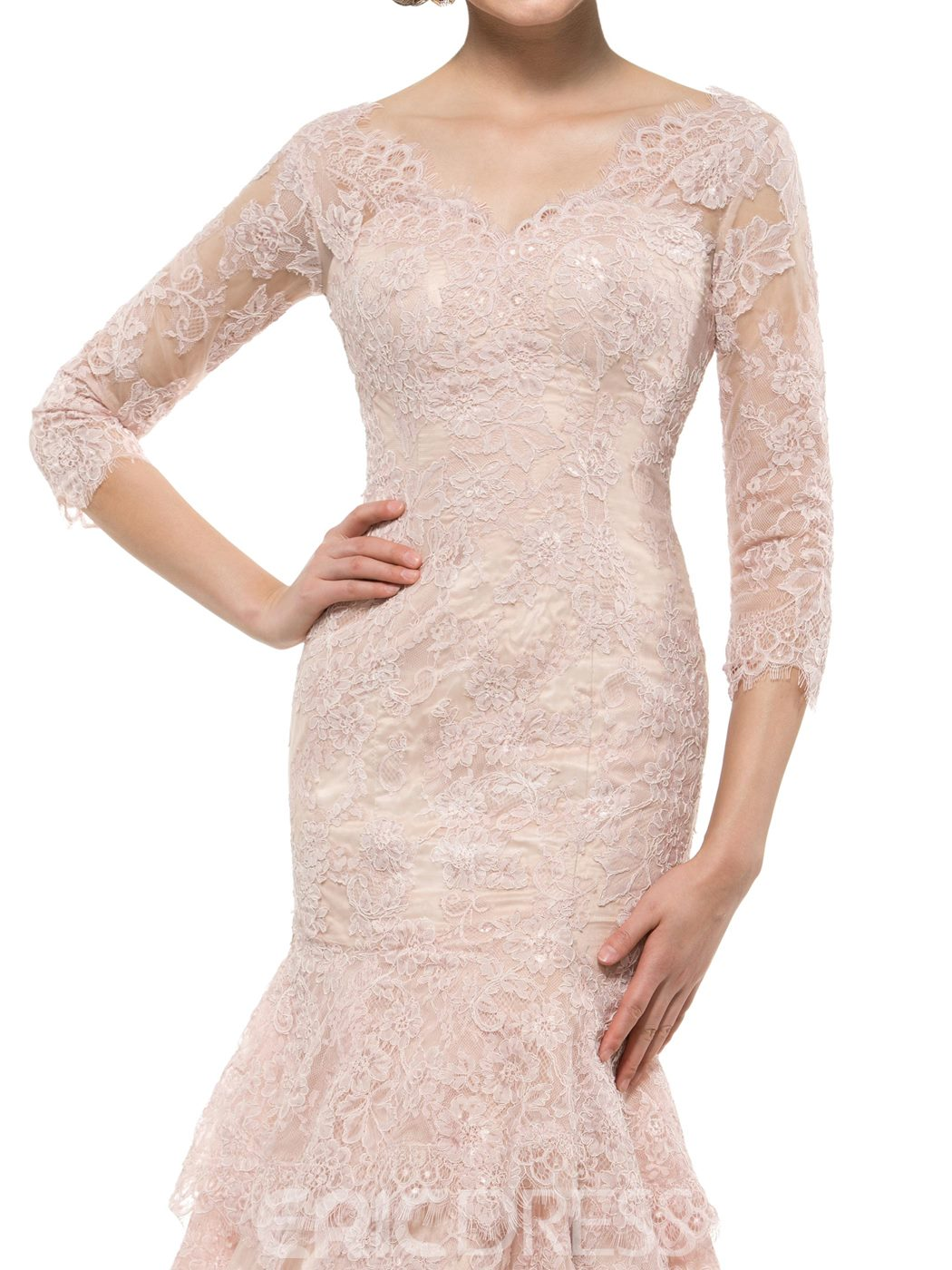 Ericdress Beautiful 3/4 Length Sleeves Lace Mermaid Mother Of The Bride Dress
