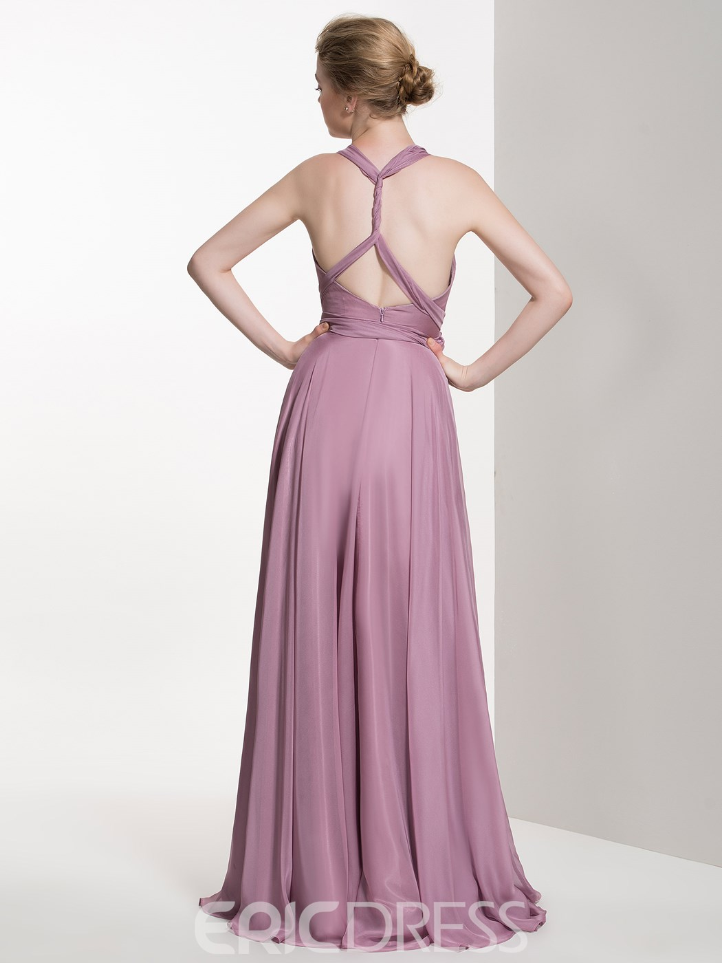 Ericdrress Beautiful Straps A Line Long Bridesmaid Dress