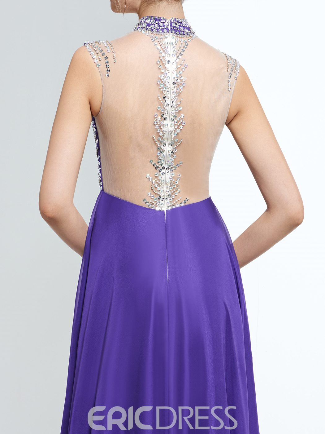 Ericdress A-Line High Neck Cap Sleeves Beading Floor-Length Prom Dress