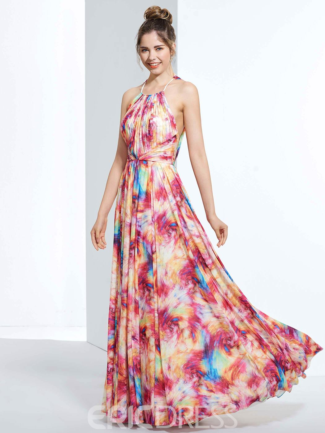 Ericdress A-Line Halter Draped Printed Floor-Length Prom Dress