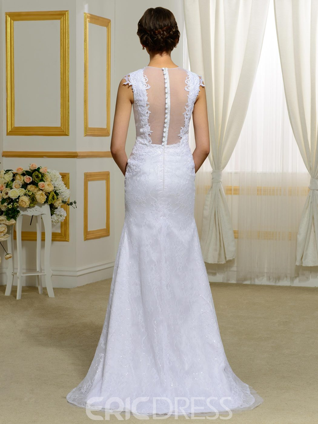 Ericdress Fashionable Illusion Back Lace Mermaid Wedding Dress
