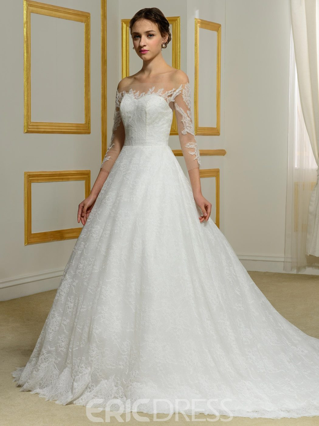 Ericdress Elegant Lace Bateau Off Shoulder Wedding Dress with Sleeves