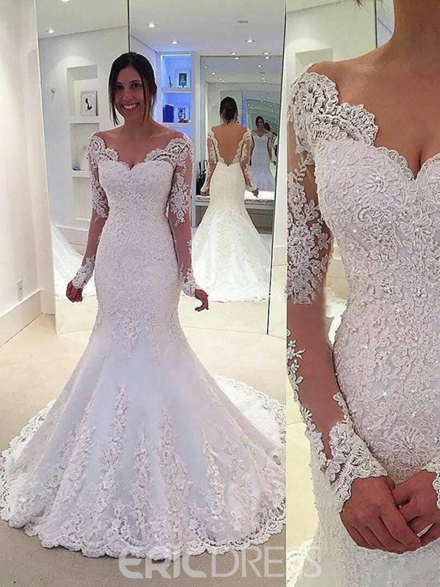 Ericdress Beautiful Beading Long Sleeves Backless Mermaid Wedding Dress