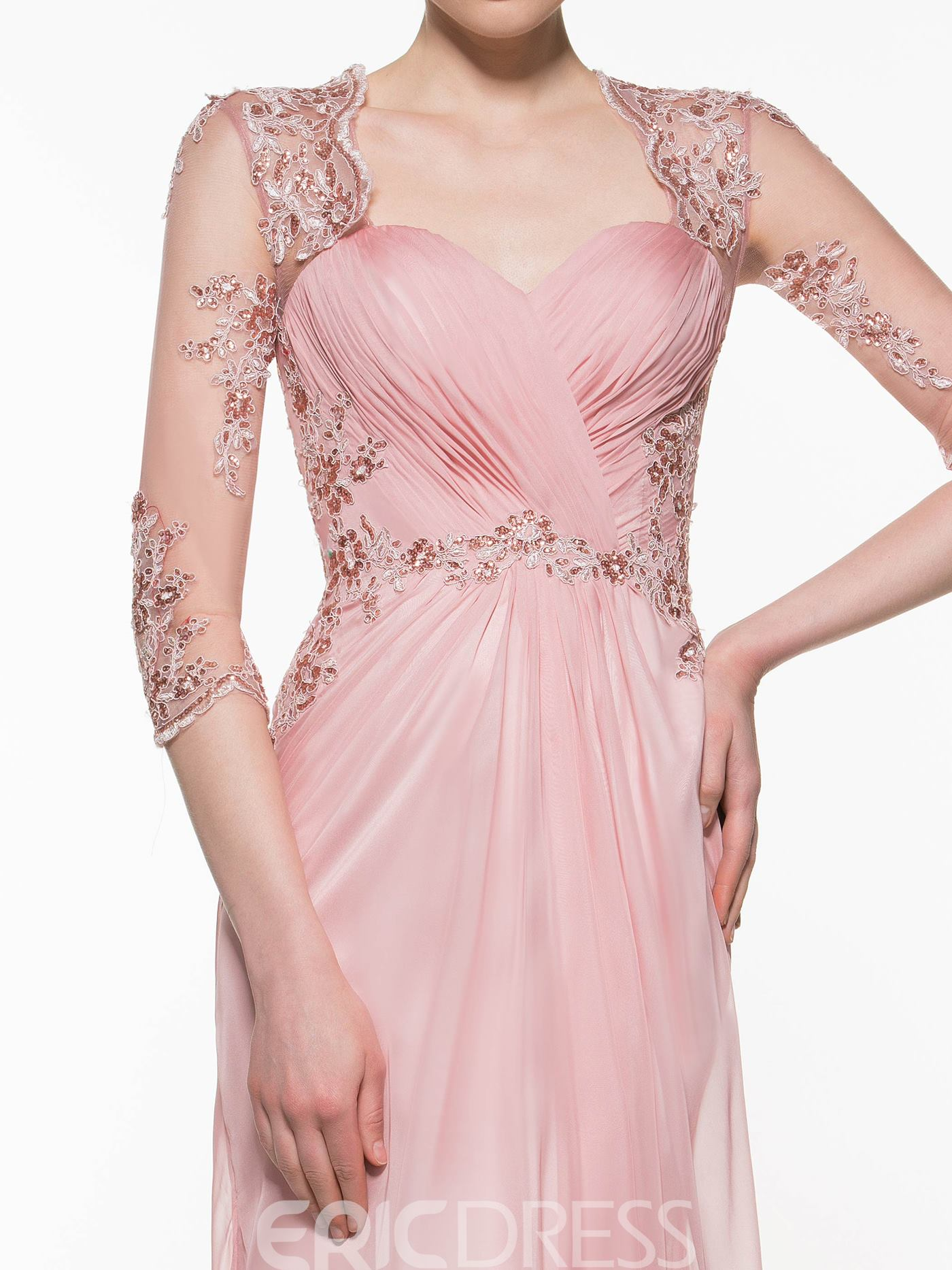 Ericdress Elegant Appliques Beaded A Line Long Mother Of The Bride Dress