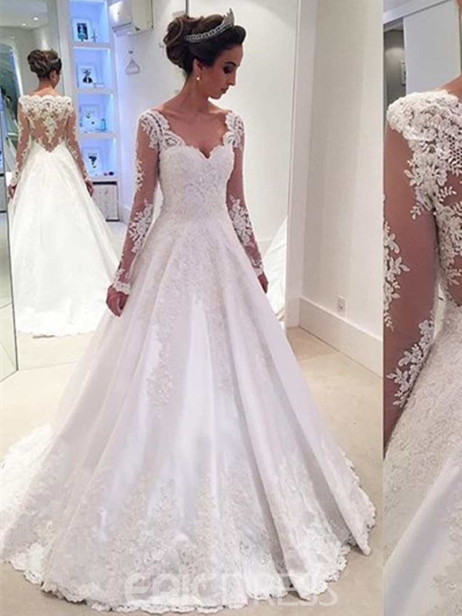 Ericdress Elegant Appliques A Line Long Sleeves Wedding Dress