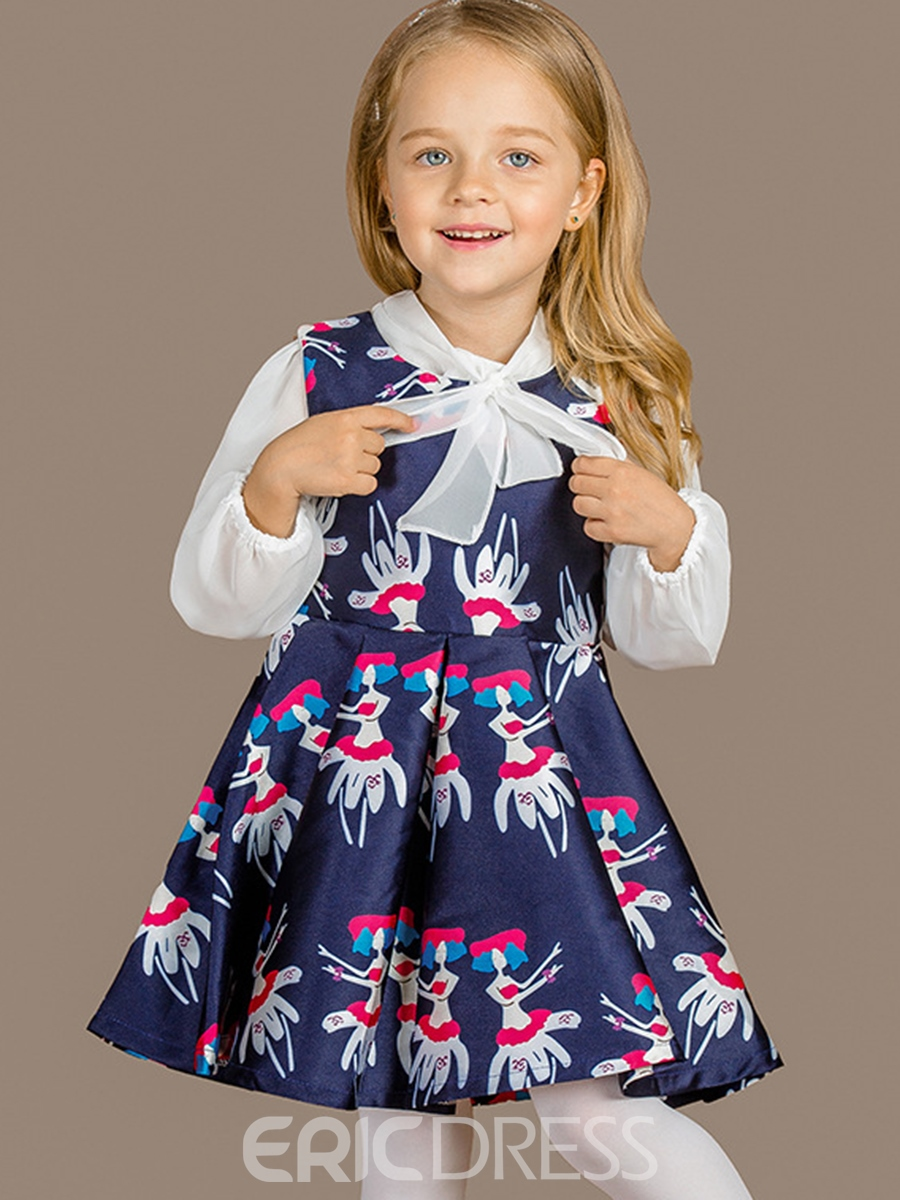 Ericdress Bow-Belt Collar Printing Pleated Girls Dress