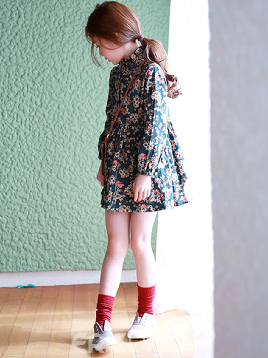 Ericdress Floral Single-Breasted Girls Dress