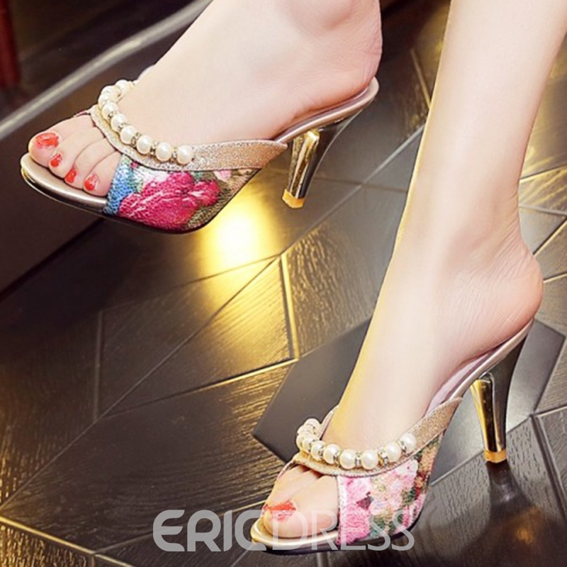 Ericdress Retro Floral Print Pearl Decorated Mules Shoes