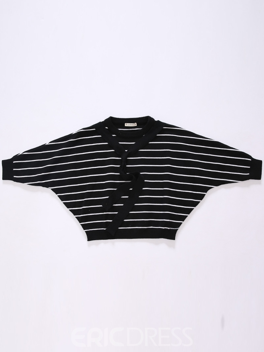 Ericdress Batwing Sleeve Scarf Pinstripe Girls Top