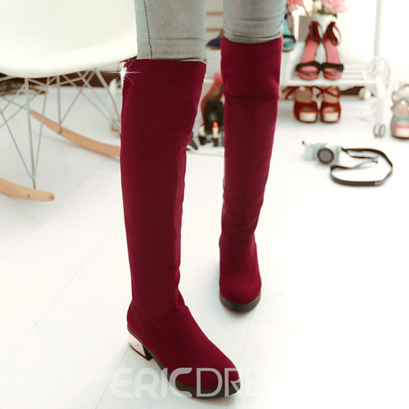 Ericdress Suede Embellished Rhinestone Knee High Boots