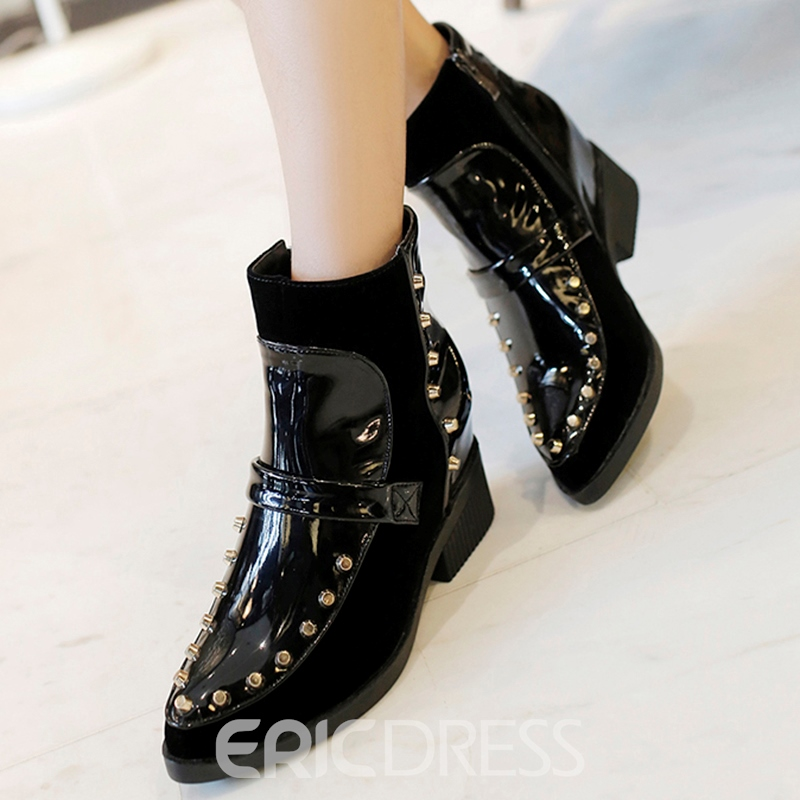 Ericdress Chic Color Block Rivet Ankle Boots