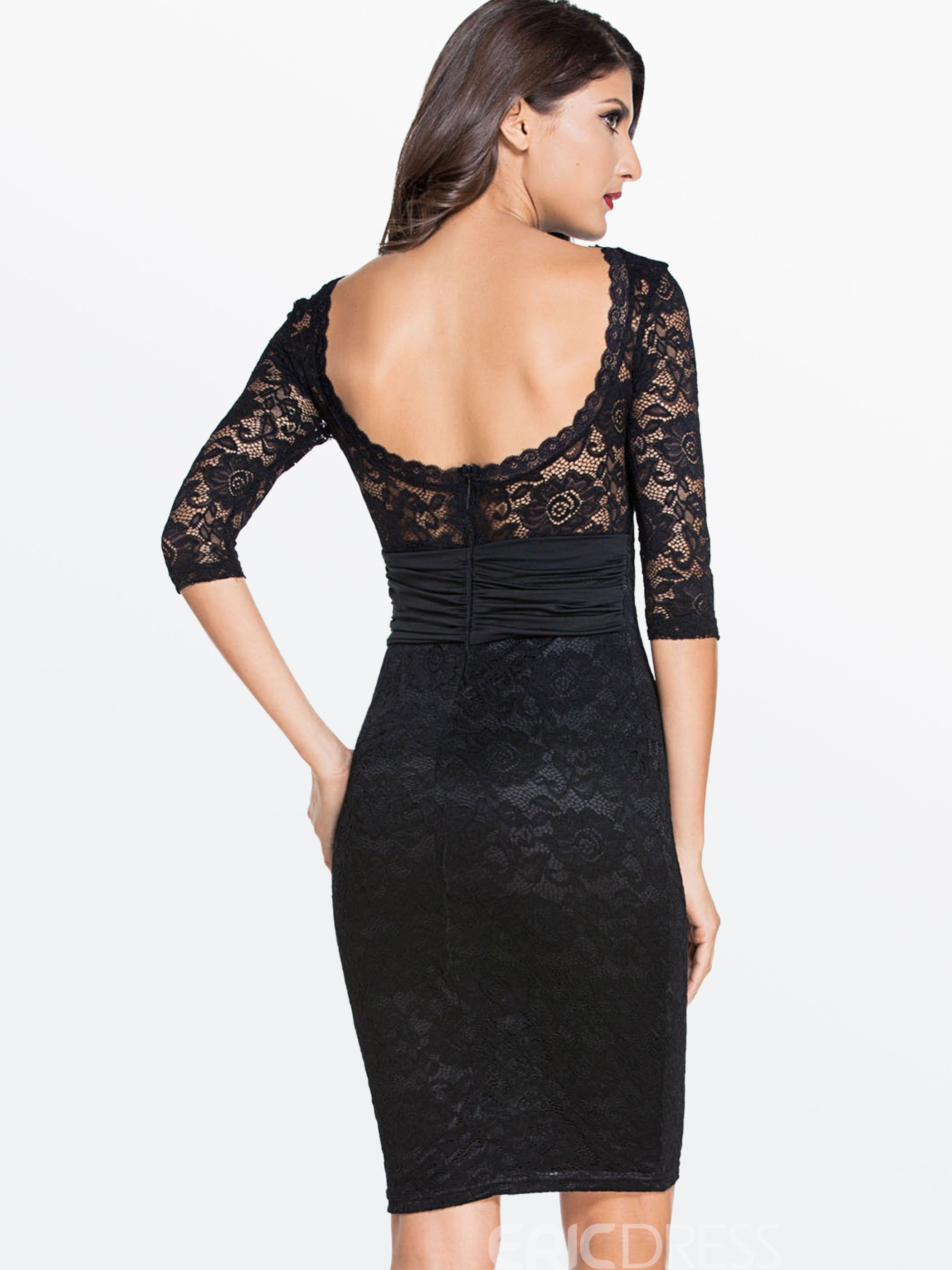 Ericdress Plain Lace Patchwork Sexy Clubwear Dress