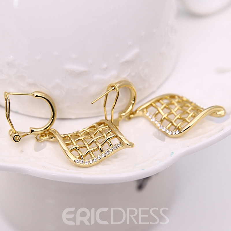 Ericdress Gold Grid Design Jewelry Set