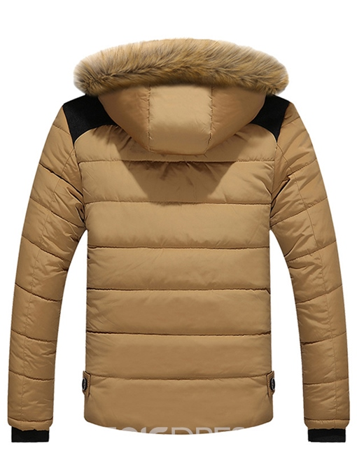 Ericdress Faux Fur Hooded Thicken Winter Small Size Men's Cotton Coat