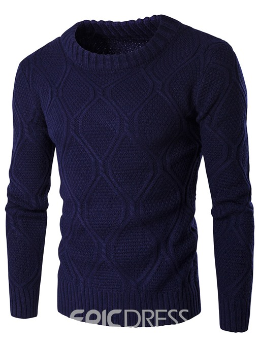 Ericdress Plain Crew Neck Jacquard Vogue Warm Men's Sweater