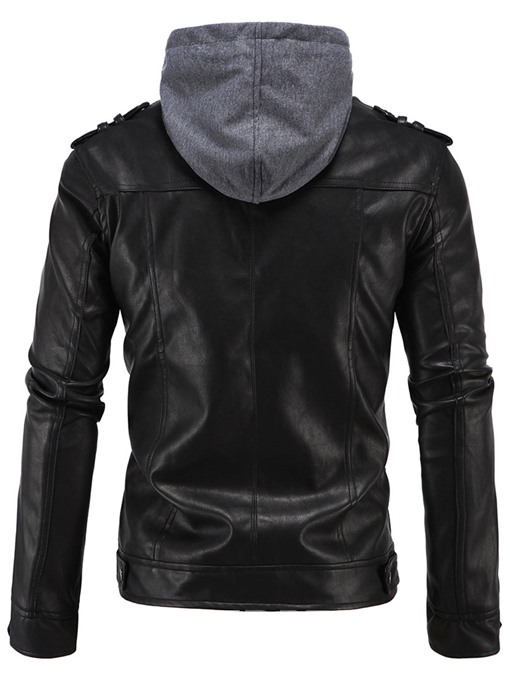 Ericdress Patchwork Hood Zipper PU Casual Men's Jacket